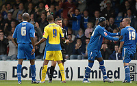 Photo: Ashley Pickering.<br /> Gillingham v Leeds United. Coca Cola League 1. 29/09/2007.<br /> Jermaine Beckford of Leeds (no. 9) becomes the second player of the afternoonto be dismissed by Ref Danny McDermid