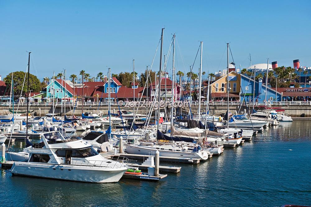 Long Beach, CA, Rainbow Harbor, Marina, Southern California, USA,