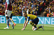 Arsenal's Aaron Ramsey after his near miss during the The FA Cup match between Arsenal and Aston Villa at Wembley Stadium, London, England on 30 May 2015. Photo by Phil Duncan.