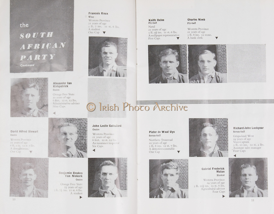 Irish Rugby Football Union, Ireland v South Africa, Tour Match, Landsdowne Road, Dublin, Ireland, Saturday 17th December, 1960,.17.12.1960, 12.17.1960,..Referee- G J Treharne, Welsh Rugby Union, ..Score- Ireland 3 - 8 South Africa, ..Irish Team, ..T J Kiernan,  Wearing number 15 Irish jersey, Full Back, University college Cork Football Club, Cork, Ireland,  ..W W Bornemann, Wearing number 14 Irish jersey, Right Wing, Wanderers Rugby Football Club, Dublin, Ireland, ..J C Walsh,  Wearing number 13 Irish jersey, Right Centre, University college Cork Football Club, Cork, Ireland,..A C Pedlow, Wearing number 12 Irish jersey, Left Centre,  C I Y M S Rugby Football Club, Belfast, Northern Ireland, ..N H Brophy, Wearing number 11 Irish jersey, Left wing, Blackrock Rugby Football Club, Dublin, Ireland, ..W K Armstrong, Wearing number 10 Irish jersey, Stanf Off, N.I.F.C, Rugby Football Club, Belfast, Northern Ireland,..A A Mulligan, Wearing number 9 Irish jersey, Scrum Half, London Irish Rugby Football Club, Surrey, England, ..S Millar, Wearing number 1 Irish jersey, Forward, Ballymena Rugby Football Club, Antrim, Northern Ireland,..A R Dawson, Wearing number 2 Irish jersey, Captain of the Irish team, Forward, Wanderers Rugby Football Club, Dublin, Ireland, ..B G Wood, Wearing number 3 Irish jersey, Forward, Landsdowne Rugby Football Club, Dublin, Ireland,..W A Mulcahy, Wearing number 4 Irish jersey, Forward, University College Dublin Rugby Football Club, Dublin, Ireland, ..M G Culliton, Wearing number 5 Irish jersey, Forward, Wanderers Rugby Football Club, Dublin, Ireland, ..J R Kavanagh, Wearing number 6 Irish jersey, Forward, Wanderers Rugby Football Club, Dublin, Ireland, ..P J A O' Sullivan, Wearing  Number 8 Irish jersey, Forward, Galwegians Rugby Football Club, Galway, Ireland,..N A Murphy, Wearing number 7 Irish jersey, Forward, Garryowen Rugby Football Club, Limerick, Ireland, ..South African Team, ..L G Wilson, Wearing number 15 South African jersey, Full Back, West