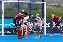 Hampstead & Westminster's Chris Cargo shoots. Hampstead & Westminster v Surbiton - Men's Hockey League Final, Lee Valley Hockey & Tennis Centre, London, UK on 29 April 2018. Photo: Simon Parker