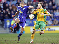 Leicester - Saturday, February 16th, 2008: Patrick Kisnorbo (L) of Leicester City and Ched Evans (R) of Norwich City during the Coca Cola Champrionship match at the Walkers Stadium, Leicester. (Pic by Mark Chapman/Focus Images)
