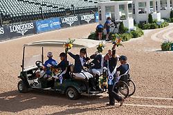 Heuitink Joyce, Den Dulk Nicole, Rixt van der Horst, Sanne Voets, Frank Hosmar, NED,<br /> Tryon - FEI World Equestrian Games™ 2018<br /> Siegerehrung Medaillenvergabe<br /> Para-Dressur Teamentscheidung<br /> 21. September 2018<br /> © www.sportfotos-lafrentz.de/Sharon Vandeput