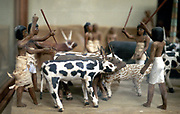 Herding cattle. Ancient Egyptian tomb model. Cairo Museum, Egypt