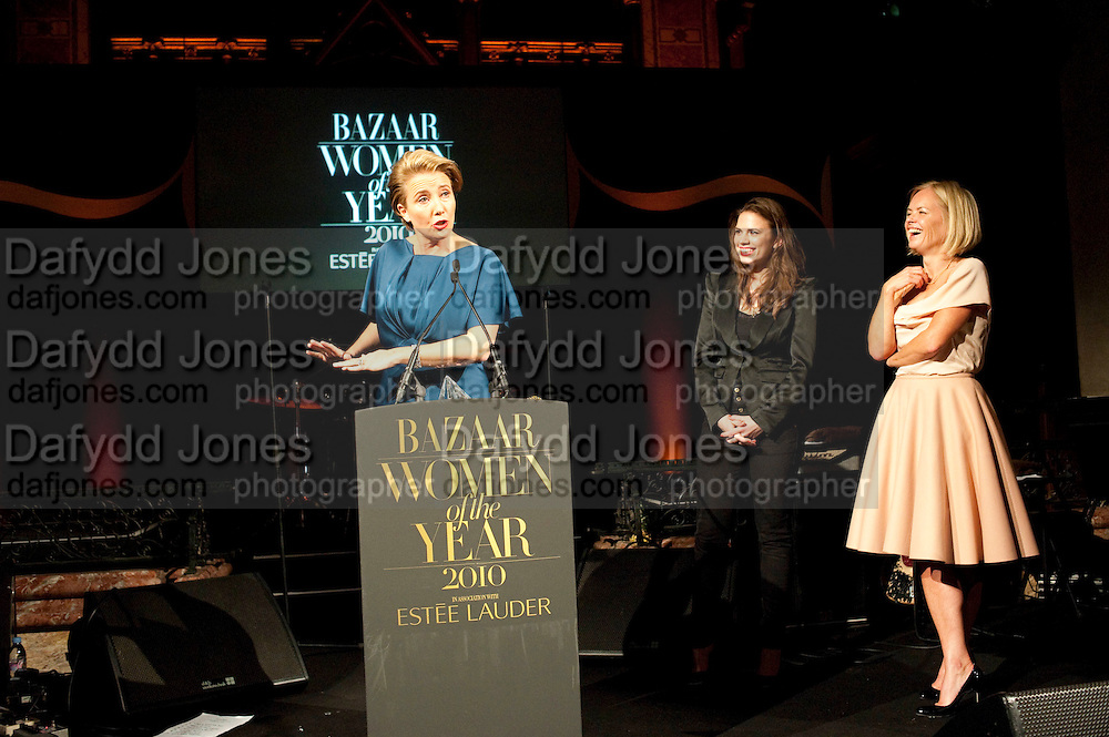 EMMA THOMPSON; HAYLEY ATWELL; MARIELLA FROSTRUP, Harpers Bazaar Women of the Year Awards. North Audley St. London. 1 November 2010. -DO NOT ARCHIVE-© Copyright Photograph by Dafydd Jones. 248 Clapham Rd. London SW9 0PZ. Tel 0207 820 0771. www.dafjones.com.