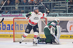 27.01.2017, Lanxess Arena, Koeln, GER, DEL, Augsburger Panther vs Koelner Haie, 42. Runde, im Bild Jubel von Nickolas Latta #19 (Koelner Haie) zum Tor mit Jonathan Boutin #35 (Augsburger Panther) // during the German DEL Icehockey League 42th round match between Augsburger Panther and Koelner Haie at the Lanxess Arena in Koeln, Germany on 2017/01/27. EXPA Pictures © 2017, PhotoCredit: EXPA/ Eibner-Pressefoto/ Hiermayer<br /> <br /> *****ATTENTION - OUT of GER*****