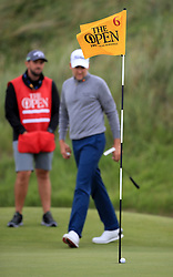 Scotland's Russell Knox's (not in picture) ball rests near the hole during day two of The Open Championship 2017 at Royal Birkdale Golf Club, Southport.