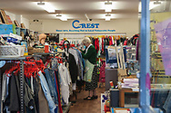 London, 16/08/2017: Crest, charity shop. Walthamstow market<br /> &copy; Andrea Sabbadini