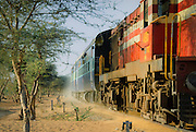 Dusty train in Rajasthan, India