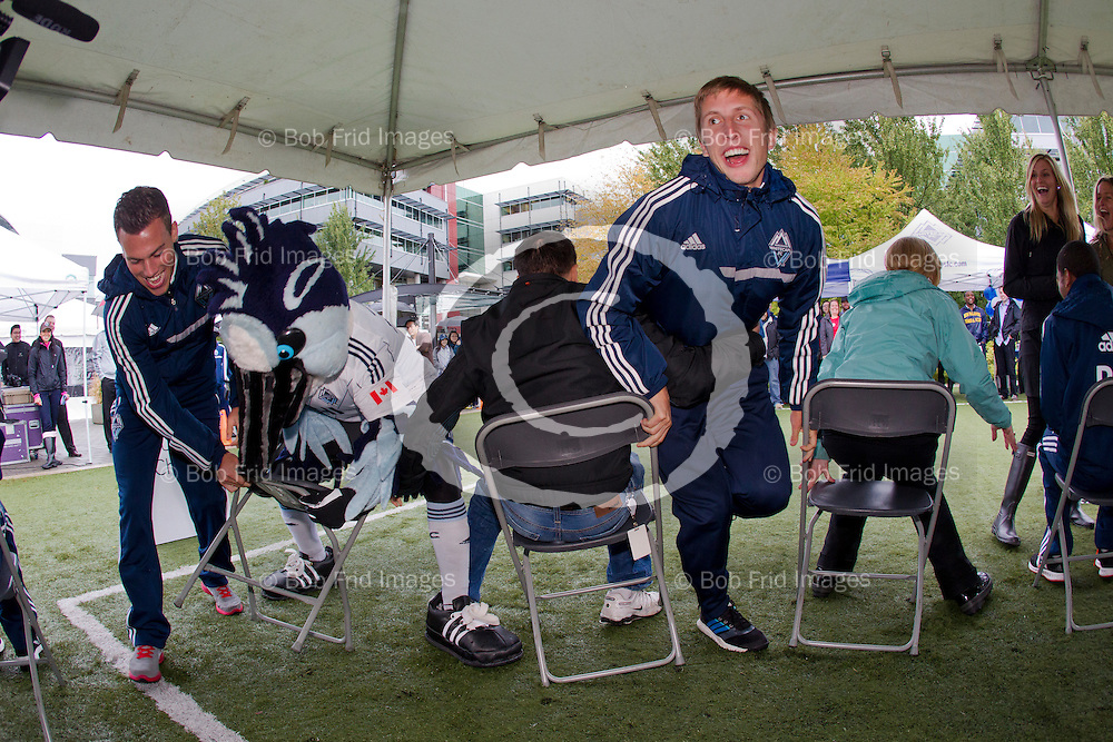 02 October  2013: Major League Soccer (MLS) - Vancouver Whitecaps FC visit Bell for Employee Appreciation and United Way Day at Bell Corporate Headquarters in Vancouver, BC.  ****(Photo by Bob Frid - Vancouver Whitecaps 2013) All Rights Reserved