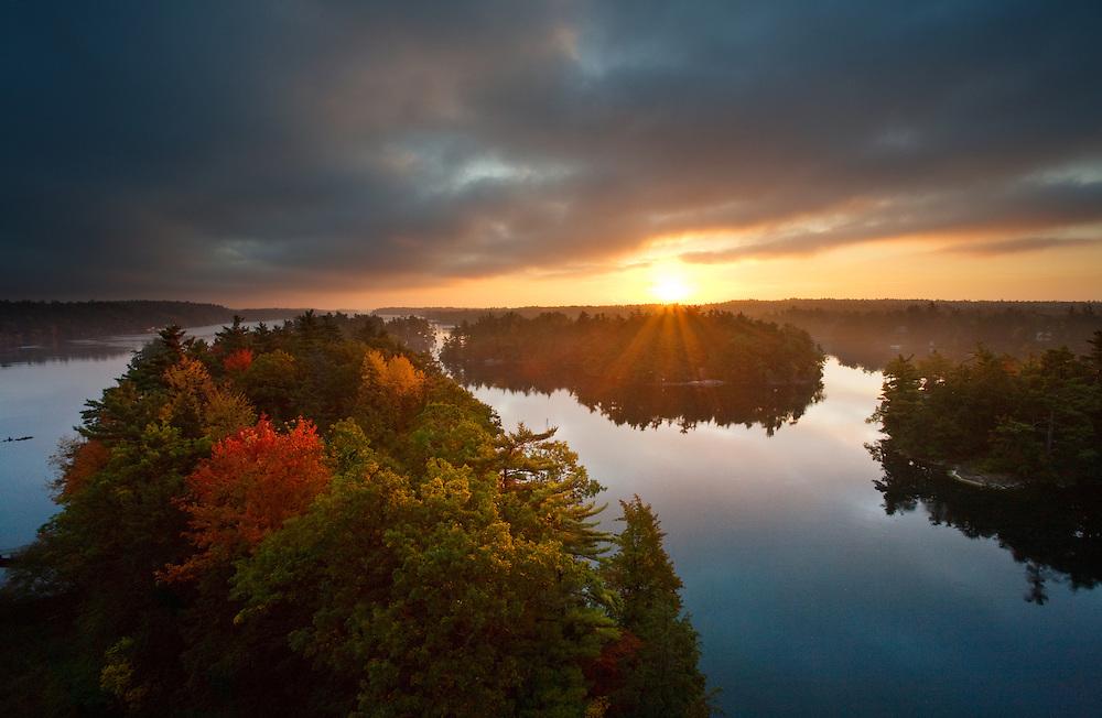 Beautiful Autumn Sunrise Aerial Vista From Ivy Lea Bridge, Thousand Islands Region, Gananoque, Ontario, Canada