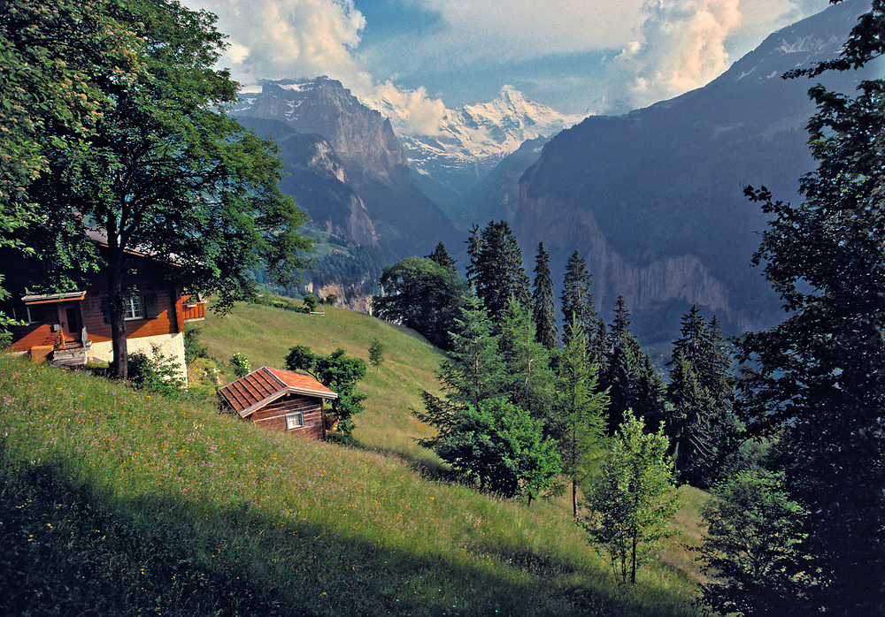 Visitors in Murren can view the Lauterbrunnen Valley in the Berner Oberland, Switzerland, from the trail. ©Ric Ergenbright