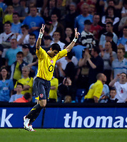 Photo: Jed Wee.<br /> Manchester City v Arsenal. The Barclays Premiership. 04/05/2006.<br /> <br /> Arsenal's Jose Antonio Reyes celebrates his second goal of the game.