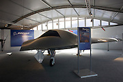 Boeing's Phantom Ray UAS at the US company's chalet Farnborough Airshow.