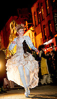 25/10/2015  Vicky McCormack in the Macnas parade on the streets of Galway.<br />  &lsquo;The Shadow Lighter&rsquo; featured the new Macnas character of Danu &ndash; a 15 ft high wild woman, the shadow lighter mistress of old stories, magic and medicine. Alongside her walked Danu&rsquo;s spirit animal, The Wolf of Danu, a beautiful, strong and fierce wolf, circling around Danu to protect her.  <br /> <br /> DUBLIN MONDAY NIGHT.<br /> Macnas will close the Bram Stoker Festival at twilight on Monday 26th October. In what is set to be another breath-taking citywide procession, Dublin&rsquo;s city streets will transform as the journey of Danu takes place, beginning in 3 city centre locations at 5.30pm with a final gathering in Wolfe Tone Square. This is a deadly adventure given life on the streets of Dublin.  Procession routes will be available to see and download from bramstokerfestival.com .Photo:Andrew Downes, xposure