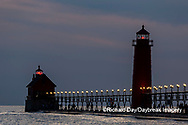 64795-03313 Grand Haven Lighthouse at sunset on Lake Michigan Grand Haven, MI