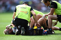 Jack Nowell of Exeter Chiefs is treated for an injury - Mandatory byline: Patrick Khachfe/JMP - 07966 386802 - 01/06/2019 - RUGBY UNION - Twickenham Stadium - London, England - Exeter Chiefs v Saracens - Gallagher Premiership Final