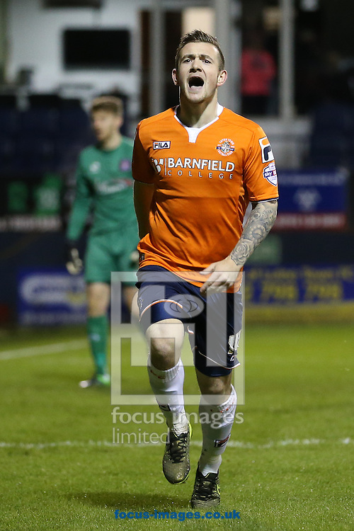 Jack Marriott of Luton Town celebrates scoring the opening goal against Carlisle United during the Sky Bet League 2 match at Kenilworth Road, Luton<br /> Picture by David Horn/Focus Images Ltd +44 7545 970036<br /> 24/11/2015
