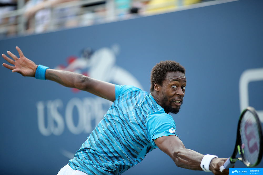 2016 U.S. Open - Day 5  Gael Monfils of France in action against Nicolas Almagro of Spain in the Men's Singles round three match on Grandstand Stadium on day five of the 2016 US Open Tennis Tournament at the USTA Billie Jean King National Tennis Center on September 2, 2016 in Flushing, Queens, New York City.  (Photo by Tim Clayton/Corbis via Getty Images)