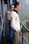 Sean and Symond on balcony, High Wycombe, UK, 1980s