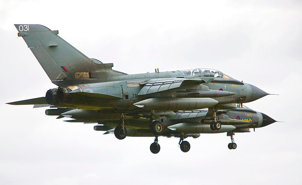 RAF GR4 Tornado aircraft land in formation at Lossiemouth, Morayshire.
