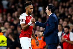Pierre-Emerick Aubameyang of Arsenal shakes hands with Arsenal manager Unai Emery - Mandatory by-line: Robbie Stephenson/JMP - 20/09/2018 - FOOTBALL - Emirates Stadium - London, England - Arsenal v Vorskla Poltava - UEFA Europa League Group E