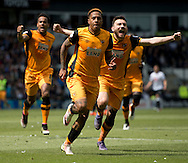 Abel Hernandez of Hull City (centre) celebrates after scoring his team's 1st goal to make it 1-0 during the Sky Bet Championship Playoff Semi Final First Leg at the iPro Stadium, Derby<br /> Picture by Russell Hart/Focus Images Ltd 07791 688 420<br /> 14/05/2016