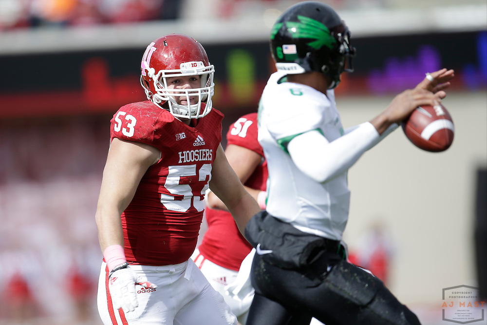 04 October 2014: Indiana Hoosiers defensive tackle Shawn Heffern (53)  as the Indiana Hoosiers played North Texas in a NCAA college football game in Bloomington, IN.