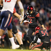 15 November 2019: San Diego State Aztecs place kicker Matt Araiza hits an extra point to start off the fourth quarter given the Aztecs a 17-7 lead. The San Diego State Aztecs beat Fresno State 17-7 Friday night to reclaim the Oil Can Trophy at SDCCU Stadium. (Credit: Derrick Tuskan/San Diego State)<br /> More game action at sdsuaztecphotos.com