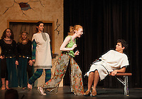 """Vibrata (Alexa Dembiec) and Hero (Jack Harding) during dress rehearsal for """"A Funny Thing Happened on the Way to the Forum"""" Tuesday evening at Gilford High School.  (Karen Bobotas/for the Laconia Daily Sun)"""