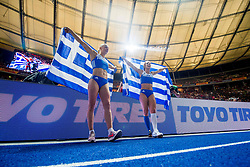 August 9, 2018 - Berlin, GERMANY - 180809 Nikoleta Kyriakopoulou and Ekaterini Stefanidi of Greece celebrate after winning silver and gold in the women's pole vault final during the European Athletics Championships on August 9, 2018 in Berlin..Photo: Vegard Wivestad GrÂ¿tt / BILDBYRN / kod VG / 170199 (Credit Image: © Vegard Wivestad Gr¯Tt/Bildbyran via ZUMA Press)