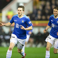 Aberdeen v St Johnstone…08.12.18…   Pittodrie    SPFL<br />Blair Alston celebrates his goal with Murray Davidson<br />Picture by Graeme Hart. <br />Copyright Perthshire Picture Agency<br />Tel: 01738 623350  Mobile: 07990 594431