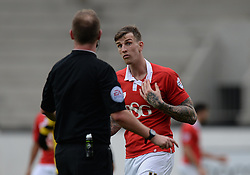Bristol City's Aden Flint shows the referee a mark on his neck. - Photo mandatory by-line: Alex James/JMP - Mobile: 07966 386802 - 28/03/2015 - SPORT - Basketball - Bristol - SGS Wise Campus - Bristol Flyers v London Lions - British Basketball League