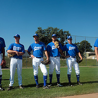 20 july 2010: Arold Castillo, Anthony Piquet, Pierrick Le Mestre, Joris Navarro, Gregory Cros, and pitching coach Jeff Zeilstra, are seen during a practice prior to the 2010 European Championship Seniors, in Neuenburg, Germany.