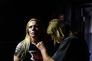 Baltimore, Maryland - May 17, 2018: World Armwrestling League competitor Lisa Wolfley is mic'd before her match against Michelle Dougan during the World Armwrestling League Supermatch Showdown Series at Rams Head Live in Baltimore, Thursday May 17th, 2018. Bleacher Report Live is the exclusive broadcaster of the event. With the recent advent of online video streaming services, niche sporting leagues are now able to sign broadcast deals. <br /> <br /> <br /> CREDIT: Matt Roth for The New York Times<br /> Assignment ID: 30219819A
