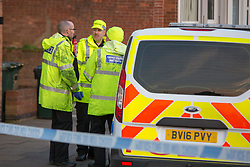 © London News Pictures. 22/02/2018. Coventry, UK.<br /> The scene where a toddler has died and his six-year-old brother has been left in critical condition when the pair where hit by a car which failed to stop on MacDonald Road in the Stoke area of Coventry. A 22-year-old man and a 41-year-old woman, who were diving a black Ford Focus, have been arrested. Photo credit: Dave Warren/LNP