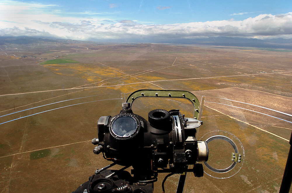 Experimental Aircraft Association, EAA, flew their historic B-17 Bomber, Aluminum Overcast, flying out of William J. Fox Field in Lancaster; looking through the nose of the aircraft over the Antelope Valley. KELLY LACEFIELD/Valley Press Apr 10, 2006