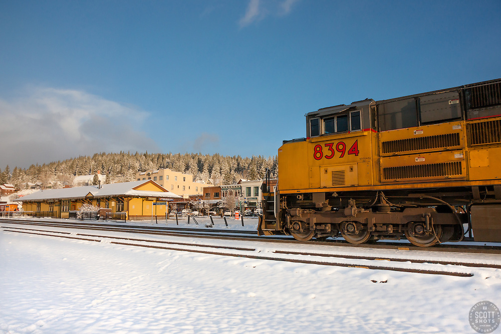 """""""Train in Snowy Truckee"""" - Photograph of a train in snowy Downtown Truckee, California."""
