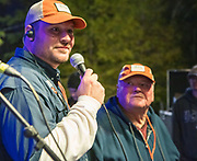 Anthony Essaied says thank you and good night as Bryan Gowland looks on at end of the first annual Abita Fall Fest in Abita Springs Park on November 2, 2019; photo ©2019, George H. Long
