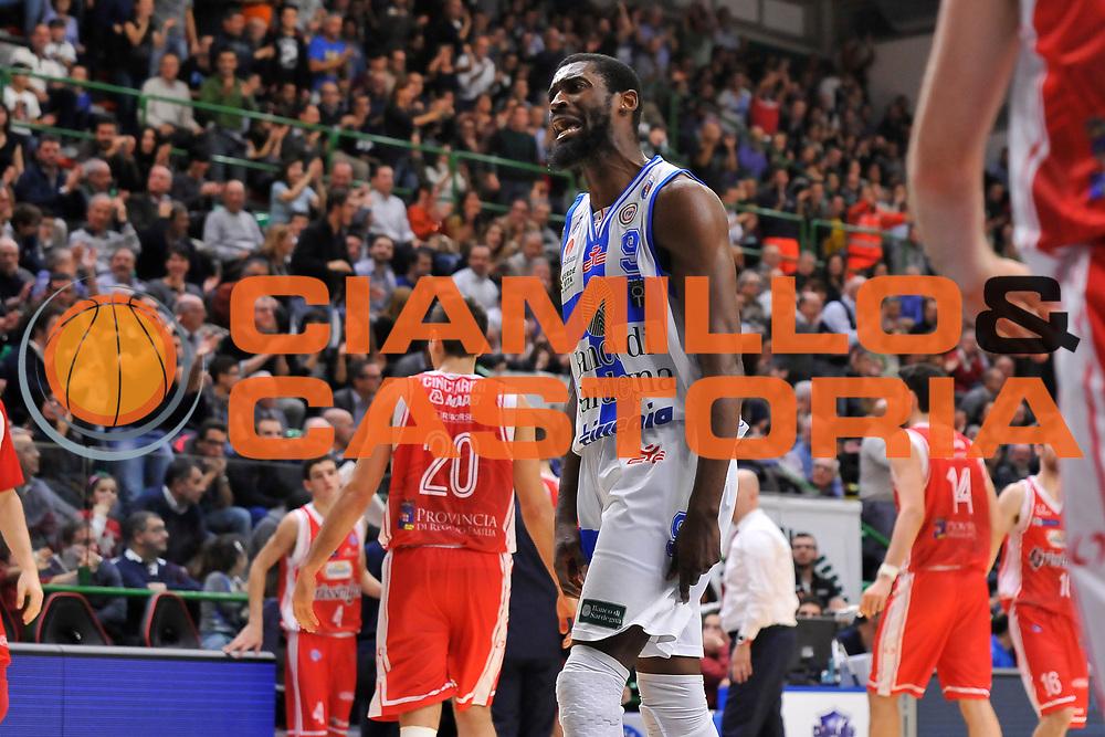 DESCRIZIONE : Campionato 2014/15 Dinamo Banco di Sardegna Sassari - Grissin Bon Reggio Emilia<br /> GIOCATORE : Shane Lawal<br /> CATEGORIA : Ritratto Esultanza<br /> SQUADRA : Dinamo Banco di Sardegna Sassari<br /> EVENTO : LegaBasket Serie A Beko 2014/2015<br /> GARA : Dinamo Banco di Sardegna Sassari - Grissin Bon Reggio Emilia<br /> DATA : 22/12/2014<br /> SPORT : Pallacanestro <br /> AUTORE : Agenzia Ciamillo-Castoria / Claudio Atzori<br /> Galleria : LegaBasket Serie A Beko 2014/2015<br /> Fotonotizia : Campionato 2014/15 Dinamo Banco di Sardegna Sassari - Grissin Bon Reggio Emilia<br /> Predefinita :
