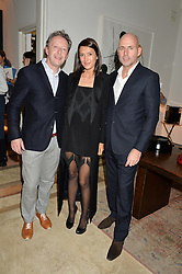 Left to right, FRANCIS MERTENS, HIKARI YOKOYAMA and NICK JEFFRIES at a private view 'Urushi Lacquer - East Meets West' celebrating the ancient tradition of Japanese lacquer art held at the South Kensington Club Mews House, Queensberry Mews, London SW7 on 12th March 2015.
