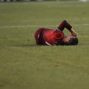 Cristiano Ronaldo, Portugal, goes down after a challenge by David Meyler, Ireland, during the Portugal V Ireland International Friendly match in preparation for the 2014 FIFA World Cup in Brazil. MetLife Stadium, Rutherford, New Jersey, USA. 10th June 2014. Photo Tim Clayton