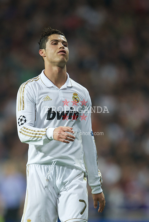 MADRID, SPAIN - Wednesday, April 25, 2012: Real Madrid's Cristiano Ronaldo looks dejected during the UEFA Champions League Semi-Final 2nd Leg match against Bayern Munchen at the Estadio Santiago Bernabeu. (Pic by David Rawcliffe/Propaganda)
