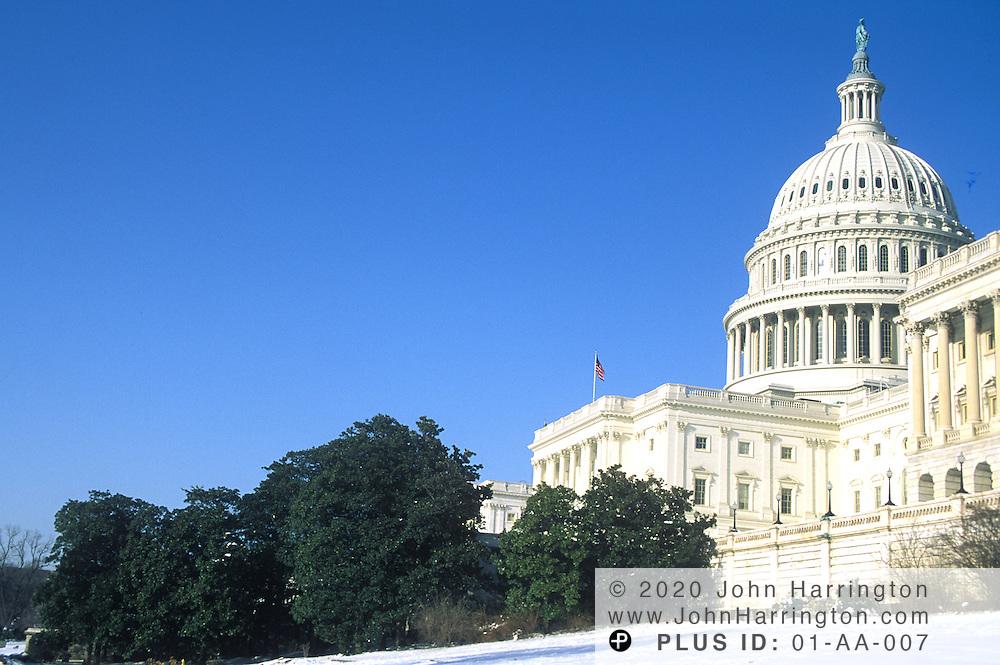 US Capitol in winter.