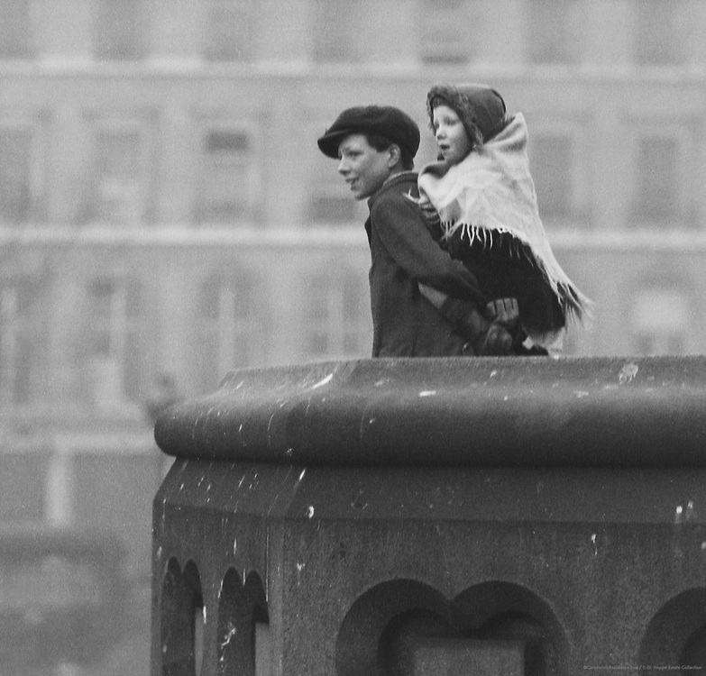 Boy and Girl Looking from Thames South Bank, London, 1910