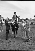 "Guinness Competitions At The RDS Horse Show.(R39)..1986..09.08.1986..08.09.1986..9th August 1986..At the Dublin Horse Show at the RDS, Guinness sponsor several events,The Guinness Match International, The Novice Championship and the Guinness Tankard...Photograph of Stephen Smyth aboard ""Hilton Nelly' winner of the Novice Championship being presented with his trophy by Mr Dick Frost,Guinness Group Sales, included in the picture is Mr Arthur Mallon, Monaghan ,owner of 'Hilton Nelly'. One of the judges of the event also presents the winners rosettes."