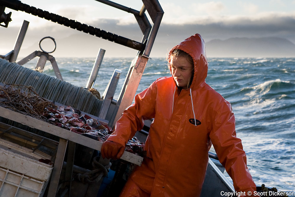 Halibut fishing near the Aleutian Islands, Alaska.