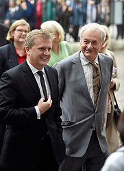 Aled Jones (left) and Paul Gambaccini arrive for the Service of Thanksgiving for Sir Terry Wogan at Westminster Abbey, London.