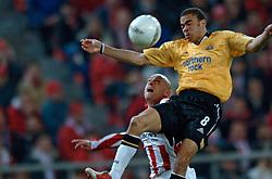 10-03-2005 VOETBAL: UEFA CUP: OLYMPIACOS PIREAUS-NEWCASTLE UNITED: ATHENE<br /> In een beladen wedstrijd wint Newcastle met 3-1 van het griekse Olympiacos - Kieron Dyer<br /> &copy;2005-WWW.FOTOHOOGENDOORN.NL