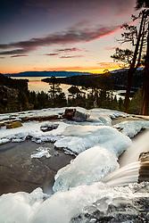 """Eagle Falls At Emerald Bay 9"" - Sunrise photograph at an icy Eagle Falls above Emerald Bay, Lake Tahoe."
